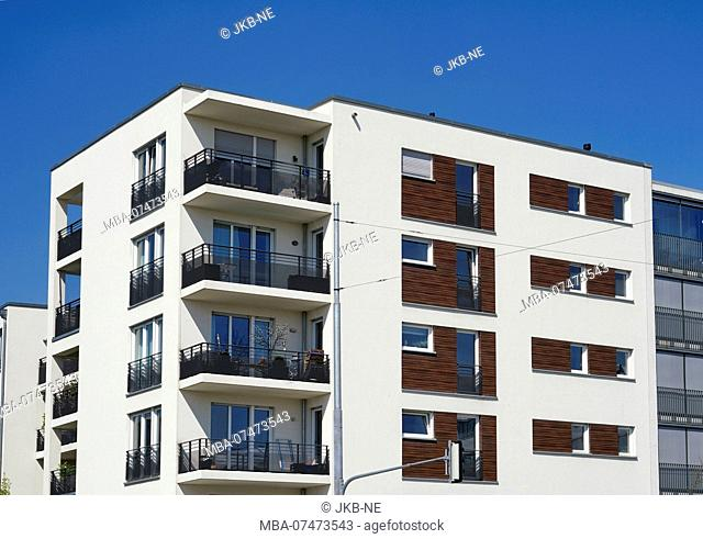 Germany, Bavaria, Munich, Neuhausen, apartment block, facade, balconies