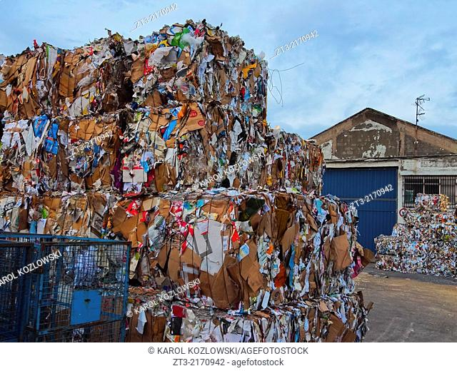 Wastepaper in Industrial District in Bilbao, Biscay, Basque Country, Spain