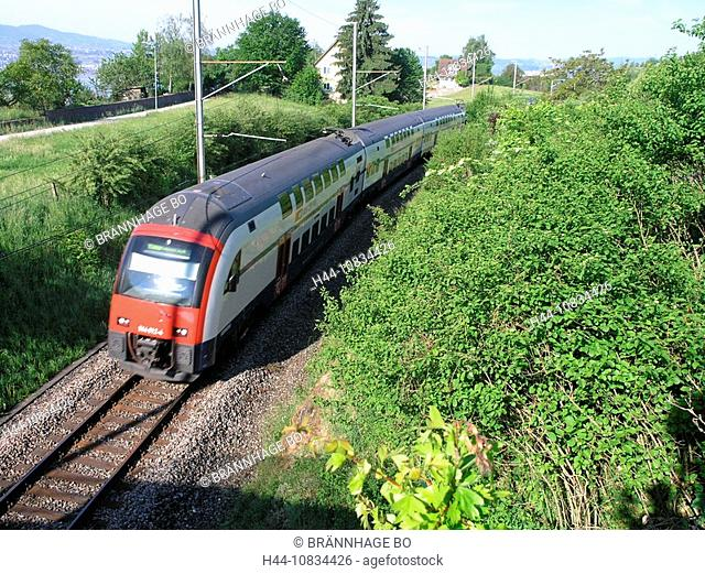 Switzerland, Europe, Uerikon, Zurich S-Bahn, metro railway, S7 Line, RABe 514, Double decker train, SBB, rail, transpo