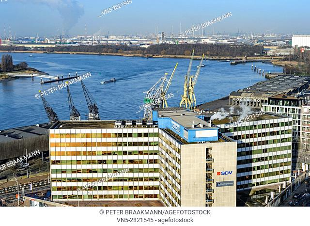 "ANTWERP - BELGIUM â. "" DECEMBER 27: Aerial view of Antwerp port area with marina harbor form roof terrace museum MAS on December 27, 2016"