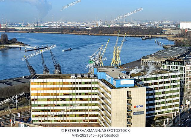 "ANTWERP - BELGIUM â. "" DECEMBER 27: Aerial view of Antwerp port area with marina harbor form roof terrace museum MAS on December 27, 2016"