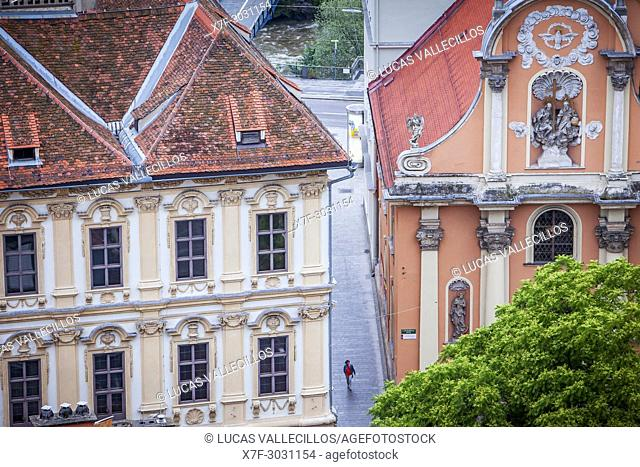 Aerial view, at right facade of Dreifaltigkeitskirche or Holy Trinity church, Graz, Austria
