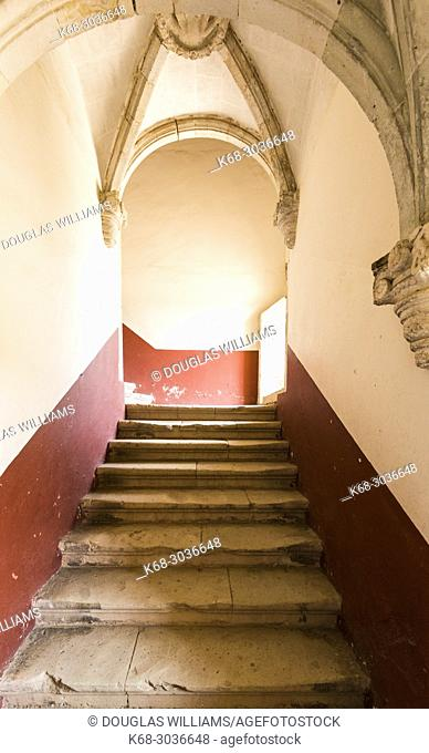 Staircase in the interior of the Ex-monastery of Santiago Apostol in Cuilipan de Guerrero, Oaxaca state, Mexico
