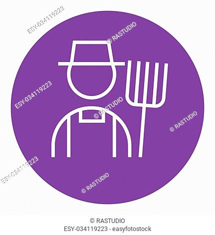 Farmer with pitchfork thick line icon with pointed corners and edges for web, mobile and infographics. Vector isolated icon