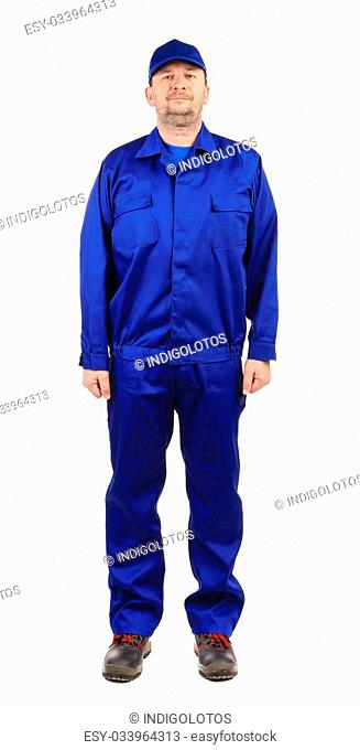 Worker in blue workwear. Isolated on a white background