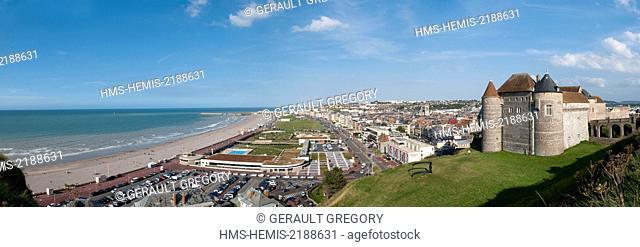 France, Seine Maritime, Pays de Caux, Cote d'Albatre, Dieppe, panorama of the city, castle museum, promenade along the Verdun Boulevard and large pebble beach