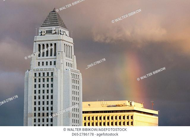 USA, California, Los Angeles, Los Angeles City Hall with rainbow