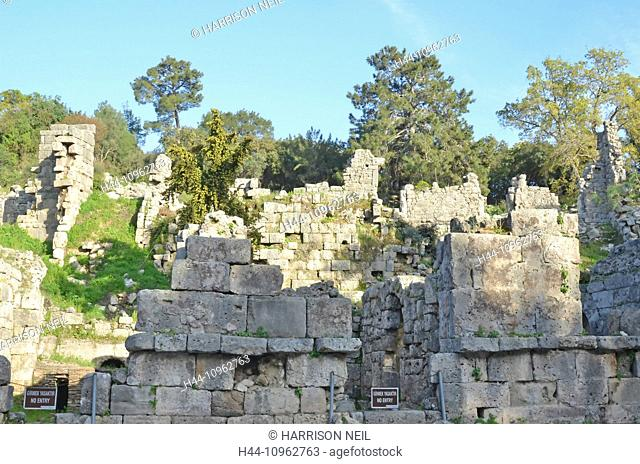 ruins, town, architecture, walls, Greek, ancient Greek, history, Rhodes, turkey, Anatolia, centre, Phaselis, Lycia, Lycian league, Alexander the Great, remains