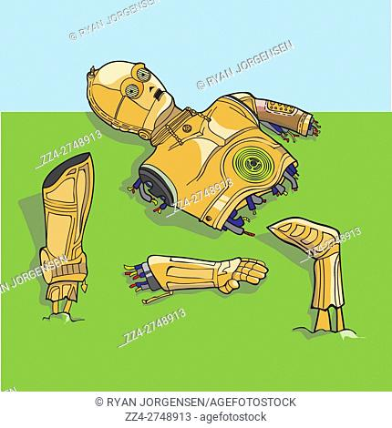 Comic Star Wars illustration of the droid C-3PO having a mechanical meltdown in fragmented pieces. C-3POh!