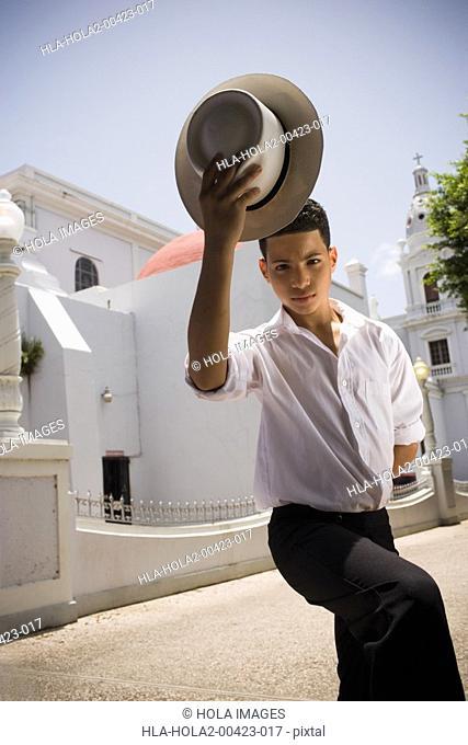 Boy wearing plena traditional attire