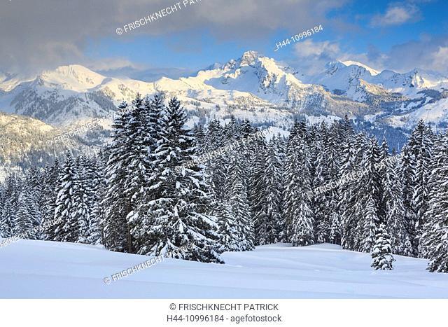 Spilgerte and Albristhorn, view from Jaun pass, Switzerland