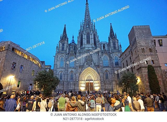 Santa Creu i Santa Eulalia Cathedral in Barcelona, Catalonia, Spain, Europe