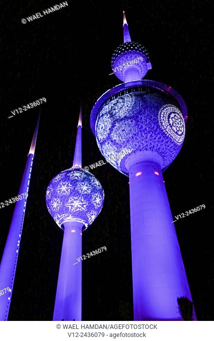 Lights show at Kuwait Towers at night, Kuwait, Kuwait City