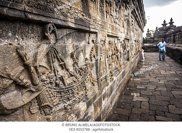 Bas-relief in Borobudur Temple, a UNESCO World Heritage Site in Magelang (Magelang Regency, Central Java, Indonesia)