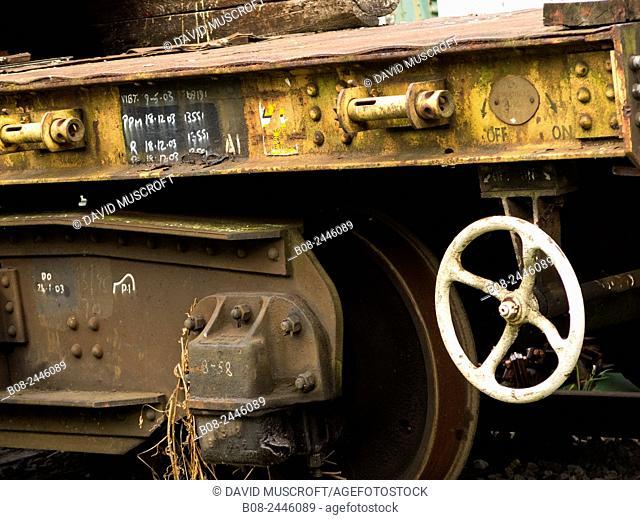 derelict old train details,Peak Rail heritage railway,Matlock,Derbyshire,UK