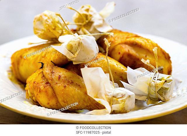 BBQ chicken legs on a plate