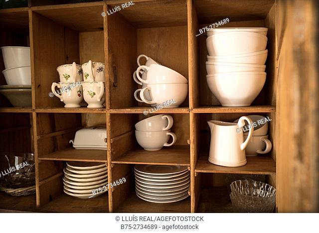 Crockery on shelves. Mahó, Minorca, Balearic Islands, Spain