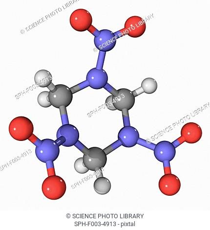 RDX, molecular model. This explosive is also known as T4 and cyclonite. Atoms are represented as spheres and are colour-coded: carbon grey, hydrogen white