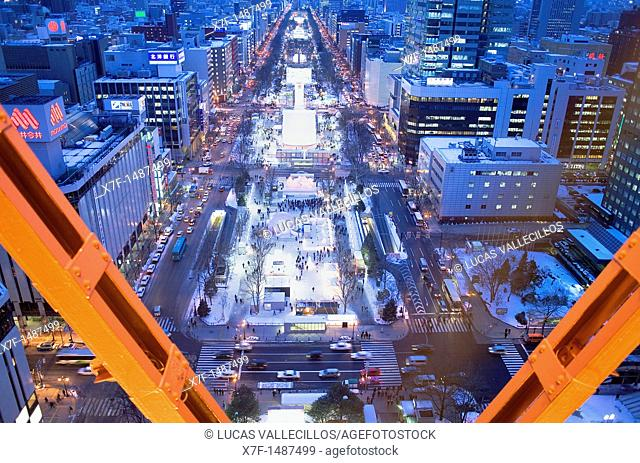 Aerial view of Odori Park from Sapporo TV tower during snow festival,Sapporo, Hokkaido, Japan