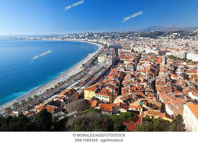 France, Alpes Maritimes , Nice from the mount Boron