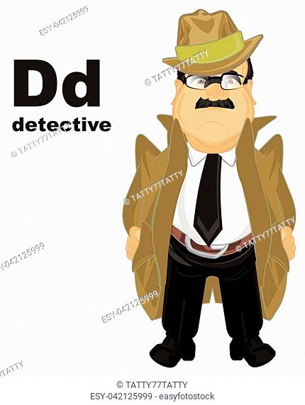 sad detective with letters d and word detective
