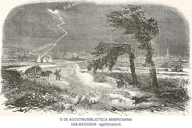 Thunderstorm and lightning in the countryside, a flock of sheep, France, illustration by Grandville from L'Illustration, Journal Universel, No 187, Volume VIII