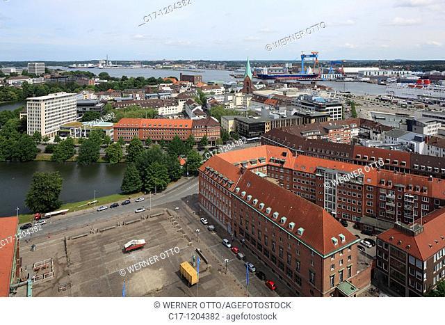 Germany, Kiel, Kiel Fjord, Baltic Sea, Schleswig-Holstein, panoramic view, ahead city hall square and Ahlmann House, Ahlmann Bank, behind Kleiner Kiel