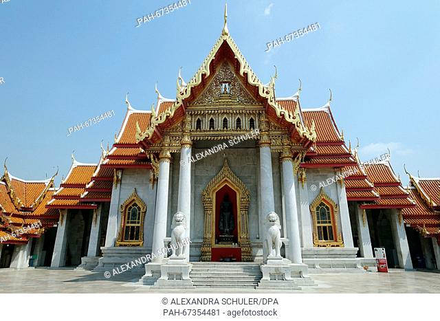 The Uposatha Hall, the Ubosot, the holiest building in a wat (Buddhist temple complex), at Wat Benchamabophit inBangkok,Thailand, 04 March 2016