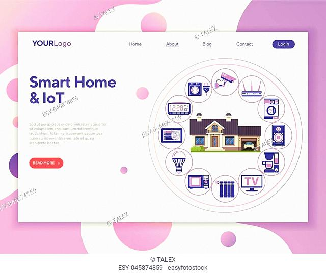 Smart Home and Internet of Things Concept. Smart House controls devices like microwave, loudspeaker, tv and security camera. Flat style icons