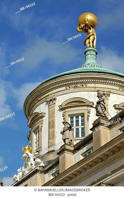Potsdam Brandenburg Germany Facade and cuppola of the ols city Hall at the old market Atlant Atlas