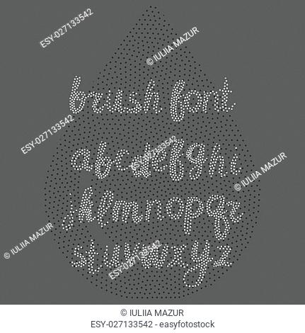 Vector handwritten dots brush alphabet on white background. Hand drawn calligraphic font. Stylized Lettering