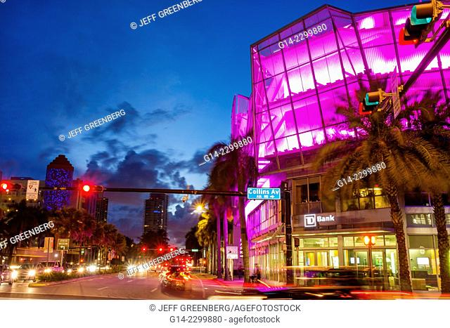 Florida, Miami Beach, 5th Fifth Street, dusk, evening, night, Collins Avenue, buildings, traffic lights, time-exposure, light show