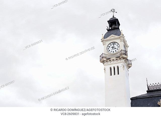 Clock tower of ancient harbour building. Valencia, Spain