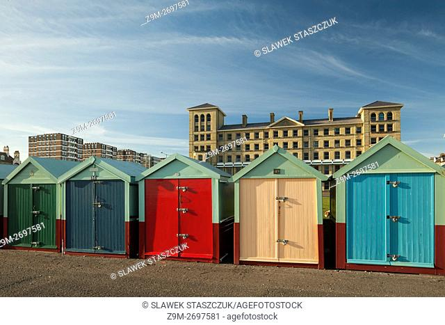 Colourful beach huts on the seafront in Hove, East Sussex, England