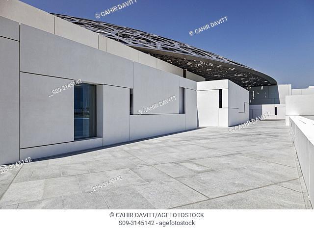 Exterior of the Abu Dhabi Louvre Art Museum designed by the architect Jean Nouvel, Saadiyat Island, Abu Dhabi, United Arab Emirates