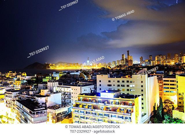Midtown of Benidorm, Province of Alicante, Costa Blanca, Western Mediterranean Sea, Southern Spain
