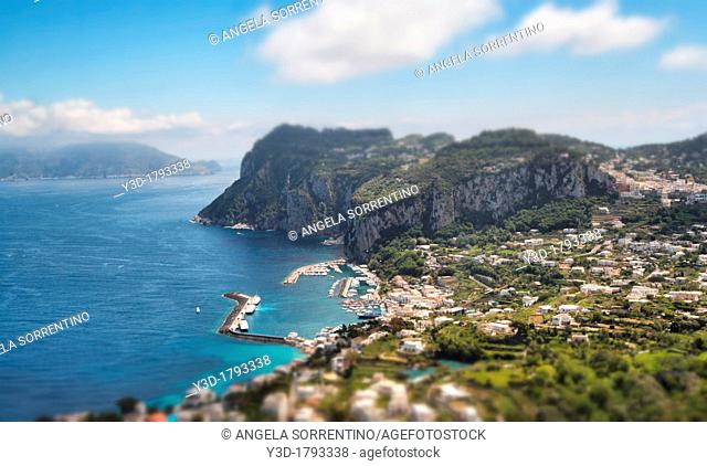 Capri landscape with tilt-shift effect