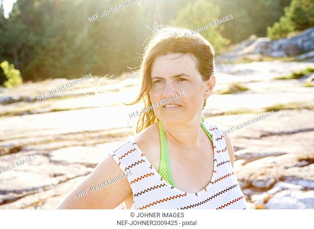 Mature woman looking away