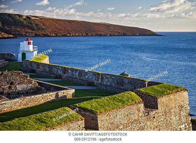 The Lighthouse (by Robert Reading) and the seaward bastions of the 17th Century Charles Fort, looking toward the Celtic Sea, Kinsale, Co