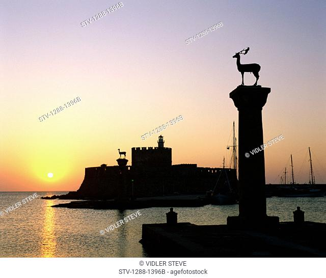 Entrance, Europe, Greece, Europe, Harbor, Holiday, Landmark, Mandraki, Mediterranean, Rhodes, Statues, Sun, Sunrise, Sunset, Tou