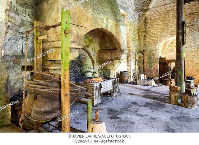 Furnace, Forge, Abbaye Royale de Notre Dame de Fontenay, Fontenay Cistercian Abbey, Montbard, Côte d'Or, Burgundy Region, Bourgogne, France, Europe