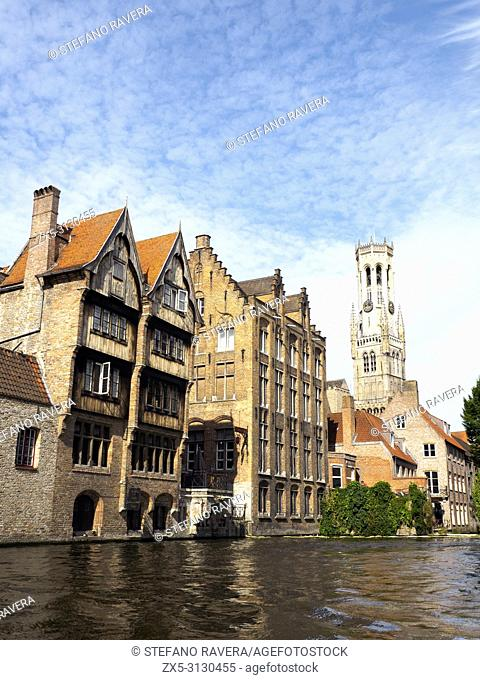 Rustic Relais Bourgondisch Cruyce Hotel facade from the Groenerei canal - Bruges, Belgium