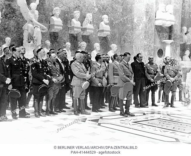 "The image from the Nazi Propaganda! shows Hitler on the occasion of the unveiling of the bust for the """"German naturalized"""" Austrian composer Anton Bruckner in..."
