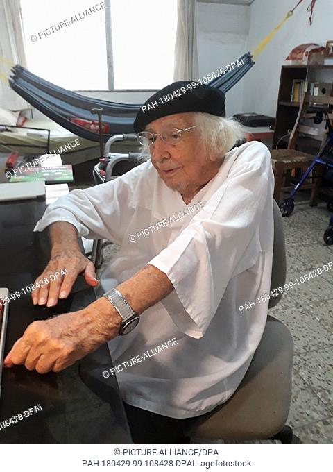 29 April 2018, Nicaragua, Managua: Poet and priest Ernesto Cardenal sits in his room in Managua. Cardenal told the press that there is to be 'No dialogue'...