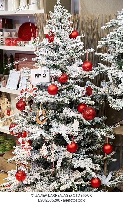 Christmas decorations. Christmas trees, Garden center. Hondarribia. Gipuzkoa. Basque Country. Spain
