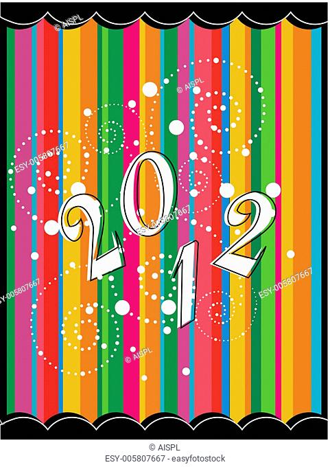 colorful doted floral art work greeting card for new year