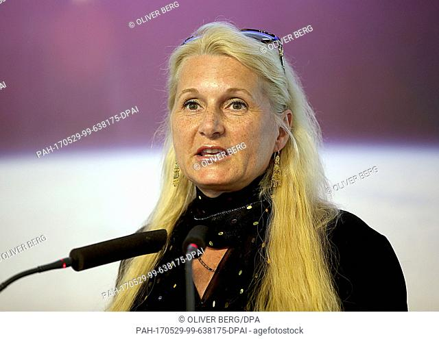 The chairman of the German Aerospace Center (DLR) Pascale Ehrenfreund speaksin Cologne, Germany, 29 May 2017. Photo: Oliver Berg/dpa