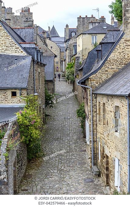 Aerial view of the medieval city of Dinan, with its typical slate roofs and cobblestone streets