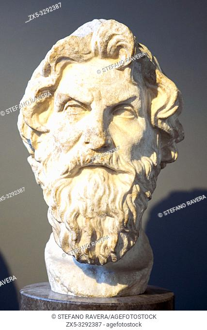 Marble head of Antisthenes (c. 450-370 BC). Roman copy after a lost Greek original of the third or second century BC. from near the via Appia, Rome