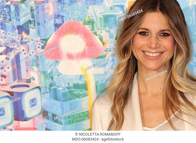 Italian actress Nicoletta Romanoff during the of Ralph Spacca Internet animated film photocall, presented at the De Russie Hotel Rome, November 16th, 2018